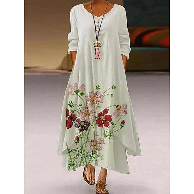 نسائي فستان سوينج فستان طويل أبيض 3/4 الكم طباعة زهور طباعة الربيع الصيف رقبة دائرية كاجوال عتيق يوميا فضفاض 2021 S M L XL XXL XXXL 4XL 5XL