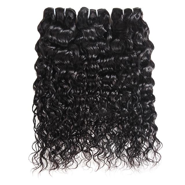 Ishow 3 Bundles Human Hair Weaves Brazil Hair 100% Human Hair 3 Pieces Water Human Hair Combination Outfit 8-28 Inch Hair Extensions