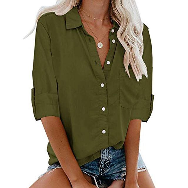 Women's Blouse Shirt Plain Long Sleeve Shirt Collar Business Basic Elegant Top