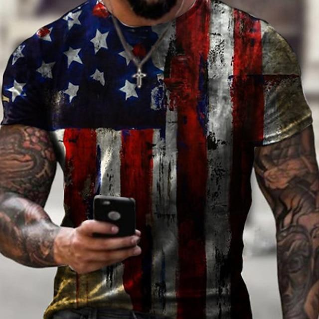 Férfi Pólók Póló Ing 3D nyomtatás Grafika Amerikai zászló Függetlenség napja Zászló Extra méret Rövid ujjú Hétköznapi Felsők Alap Dizájn Szűk fazon Nagy és magas Fehér Sárga / Nyár