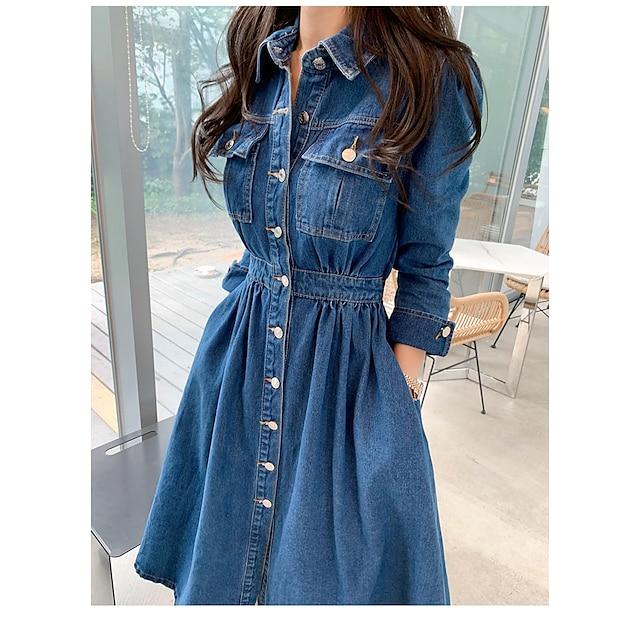 Dames Denim jurk Midi-jurk blauw Lange mouw Effen Kleur Lente Zomer Casual / Dagelijks 2021 S M L XL