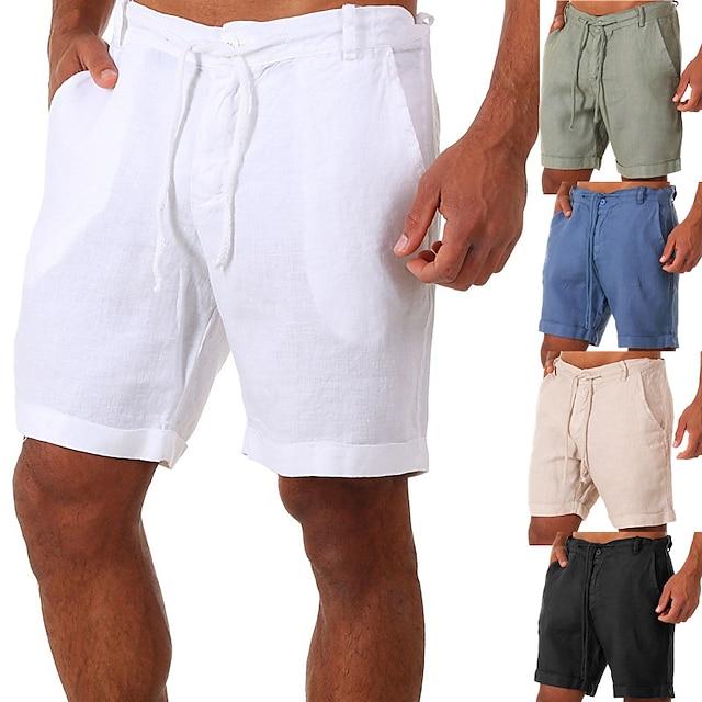 Shorts de Yoga Homme Bas Séchage rapide Couleur unie Coton Yoga Aptitude Exercice Physique Eté Des sports Tenues de Sport Micro-élastique Ample Rouge Bordeaux Bleu Grise / Athleisure