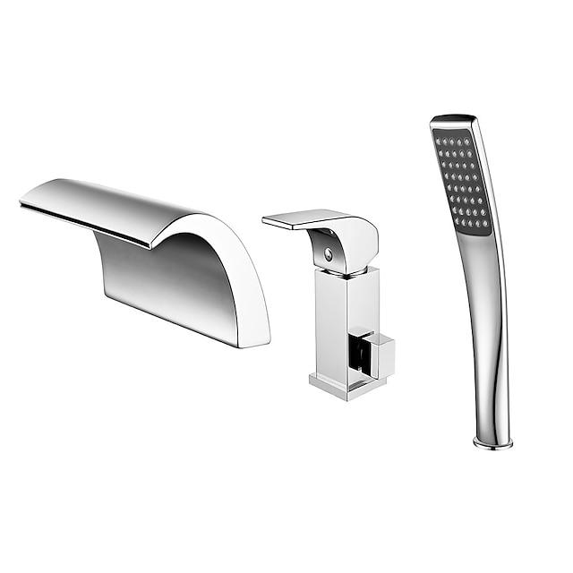 Vanová baterie - Moderní Pochromovaný Římská vana Keramický ventil Bath Shower Mixer Taps