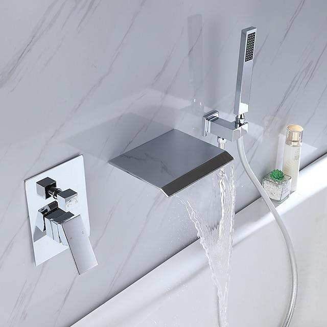 Bathtub Faucet - Contemporary Electroplated Wall Installation Ceramic Valve Bath Shower Mixer Taps / Brass