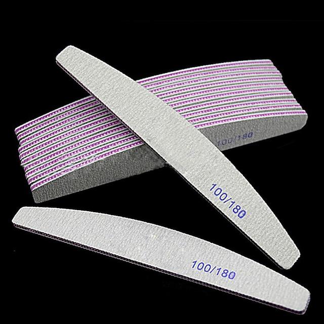 10 stk / sett profesjonell neglefil 100/180 halvmåne sandpapir neglesliping sliping polering manikyrpleieverktøy