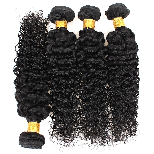 4 pakker Hårvever Krøllet Hairextensions med menneskehår Hårbunder med 100 % remy-hår 400 g Menneskehår Vevet 8-28 tommers Naturlig Farge Valentin Gave Liv