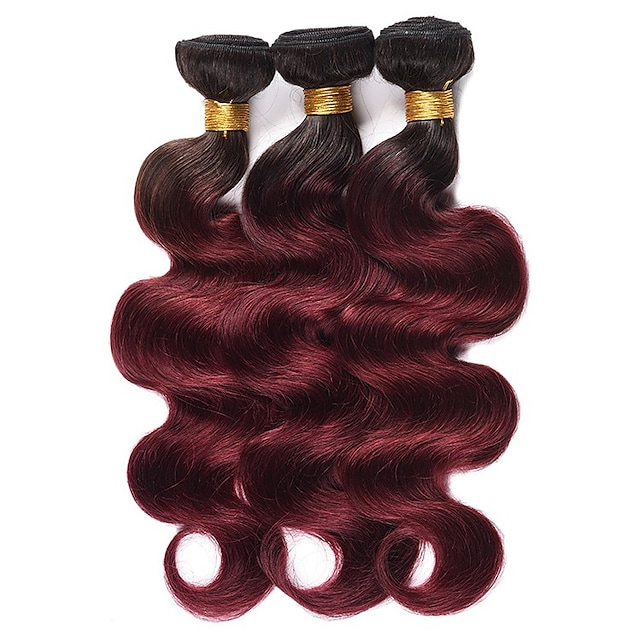 Ishow 3 Bundles Human Hair Weaves 8A Quality Hair Color Body Wave 1B99J # Hair Curtain 100% Human Peruvian Wig 3 Pieces Combination Set 10-24 Inch Hair Extensions