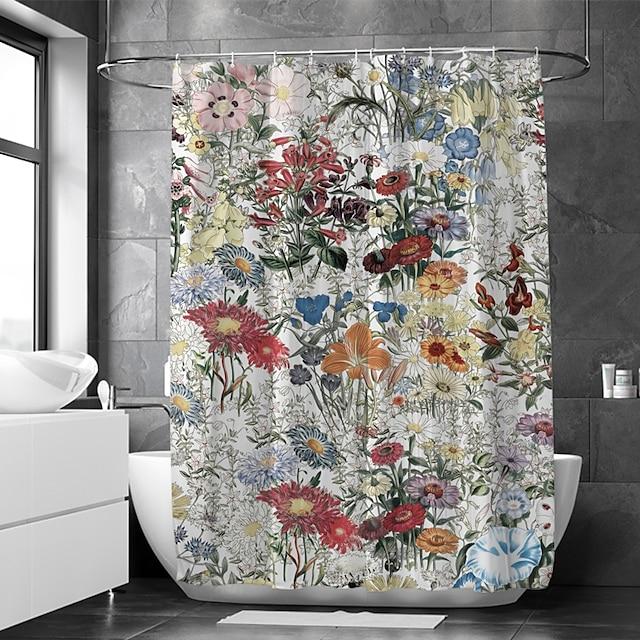 浴室の家の装飾のための多色シャワーカーテン防水生地覆われた浴槽カーテンライナーはフック付きポリエステルを含みます