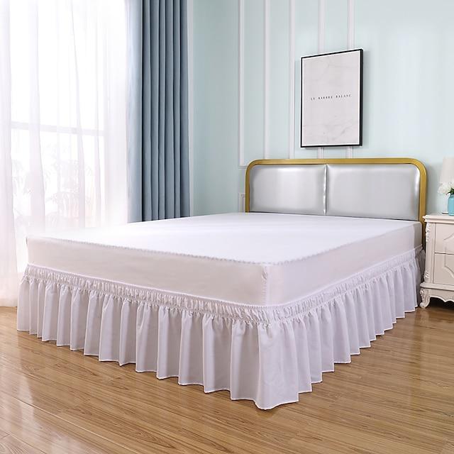 jupe de lit à volants basiques volants anti-poussière enveloppent et s'adaptent facilement aux plis et à la décoloration couleur unie