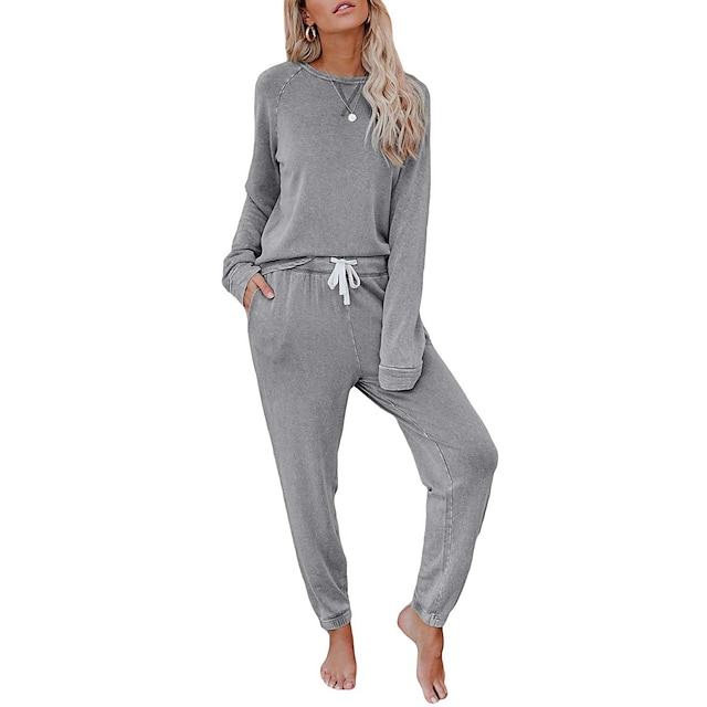 Women's Loungewear Home Daily Wear Basic Solid Color Wool & Polyester Blend Pajamas Hoodie Pant Fall & Winter Scoop Neck Long Sleeve Drawstring Belt Included
