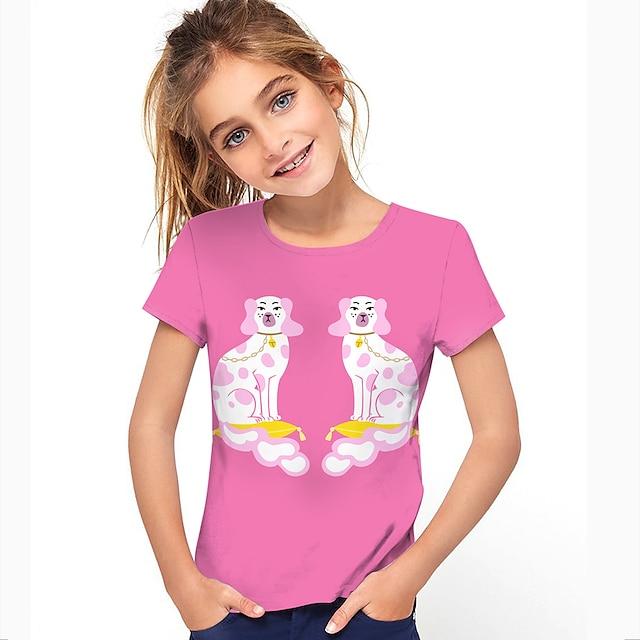 Kids Girls' T shirt Short Sleeve Dog 3D Print Animal Purple Yellow Blushing Pink Children Tops Summer Active Daily Wear Regular Fit 4-12 Years