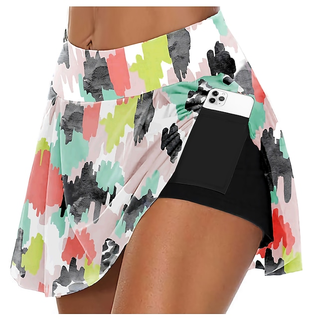 21Grams Women's High Waist Running Shorts Athletic Shorts Bottoms 3D Print 2 in 1 Side Pockets Summer Fitness Gym Workout Running Training Exercise Quick Dry Moisture Wicking Breathable Normal Sport