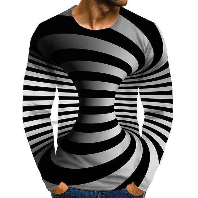 Hombre Tee Camiseta Impresión 3D Gráfico de impresión en 3D Tallas Grandes Estampado Manga Larga Diario Tops Chic de Calle Exagerado Escote Redondo Azul Piscina Amarillo Rosa