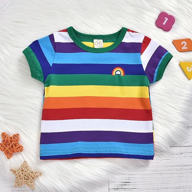 아가 남아 티셔츠 블라우스 활동적 베이직 면 레인보우 줄무늬 남여 공용 짧은 소매