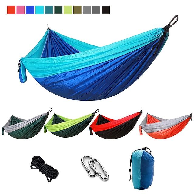 Hamac de Camping Extérieur Portable Ultra léger (UL) Séchage rapide Pliable Respirable Nylon Parachute avec mousquetons et sangles pour 2 personne Chasse Pêche Randonnée Vert Cristal Rose et bleu