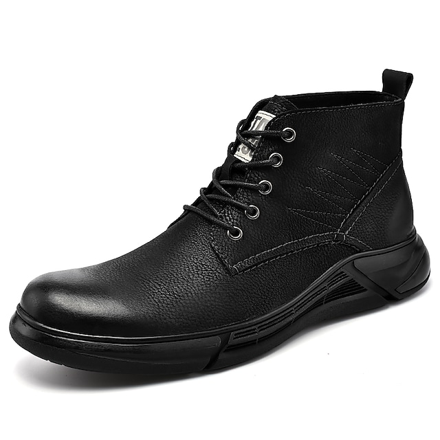 Men's Boots Casual British Daily Outdoor Leather Booties / Ankle Boots Black Brown Fall Winter