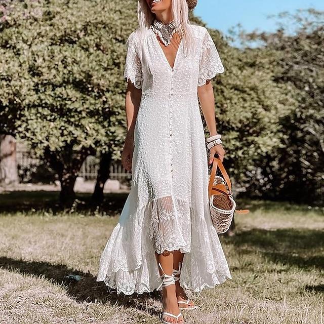نسائي فستان سوينج فستان طويل أبيض نصف كم لون الصلبة الربيع الصيف كاجوال 2021 S M L XL