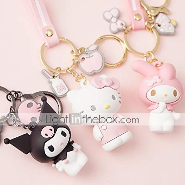 bedårende tegneserie i premium kvalitet nøglering nøglering pung håndtaske charms, hello kitty / min melodi / kuromi / keroppi / badtz-maru (min melodi)
