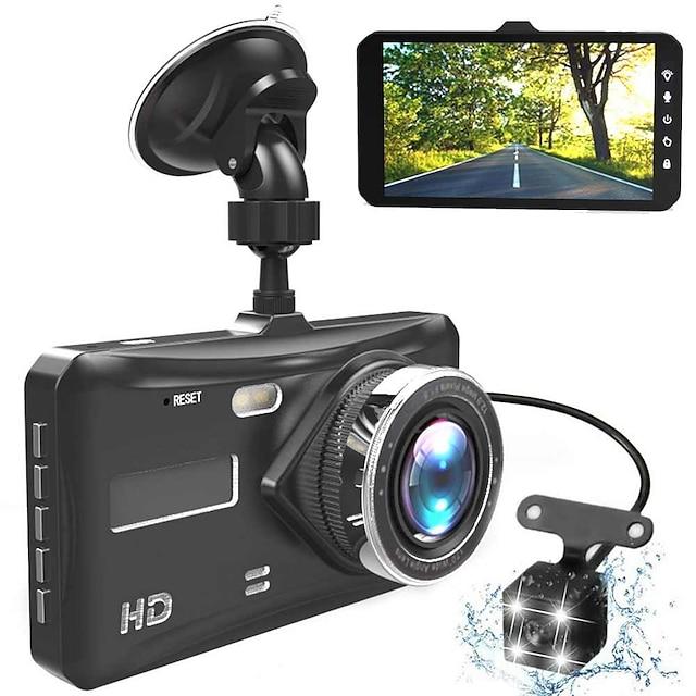 видеорегистратор с двумя объективами мини автомобильный видеорегистратор full hd 1080p 4-дюймовый сенсорный экран ips с резервной задней камерой регистратор видеорегистратор ночного видения