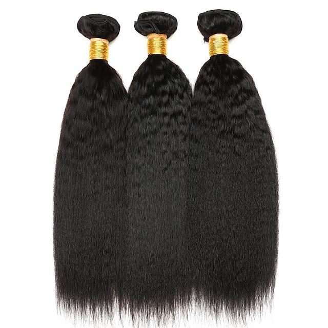 Ishow 3 Bundles Human Hair Weaves 100% Human Hair Peru Hair 3 Pieces Of Yaki Straight Human Hair 8-28 Inch Hair Extensions