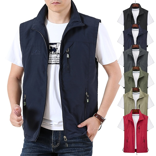 Men's Hiking Vest / Gilet Fishing Vest Sleeveless Jacket Zip Top Outdoor Waterproof Windproof Ultra Light (UL) Quick Dry Spring Summer Back Venting Design Chinlon Solid Color Red Army Green Grey