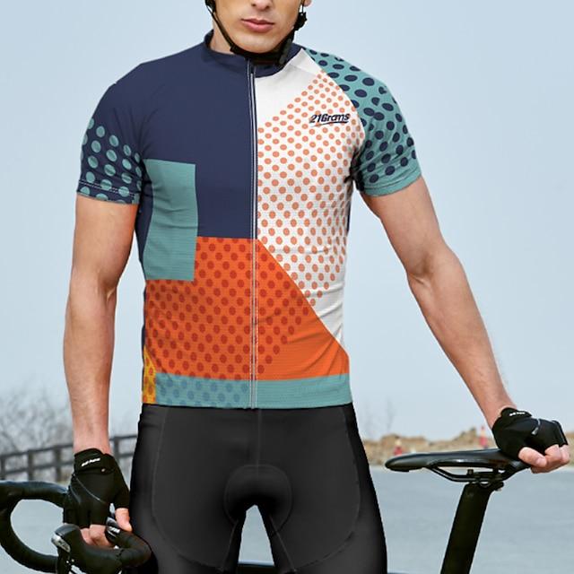 21Grams 男性用 半袖 サイクリングジャージー 夏 スパンデックス ポリエステル ブルー 波点 バイク ジャージー トップス マウンテンサイクリング ロードバイク 速乾性 吸汗性 高通気性 スポーツ 衣類 / アスレイジャー / 反射性ストリップ / 後ポケット