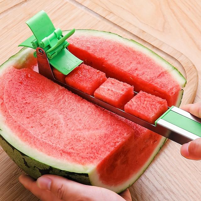 Nouveau coupe-pastèque multi melon trancheuse machine de découpe en acier inoxydable moulin à vent fruits ménage artefact cuisine outil