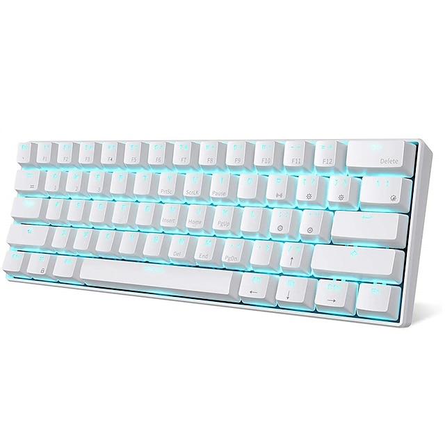 RK61 Bezprzewodowy bezprzewodowy tryb przewodowy USB USB Klawiatura mechaniczna Klawiatura do gier Przełączniki RK Mały rozmiar Można ładować Monochromatyczne podświetlenie / Niebieskie podświetlenie