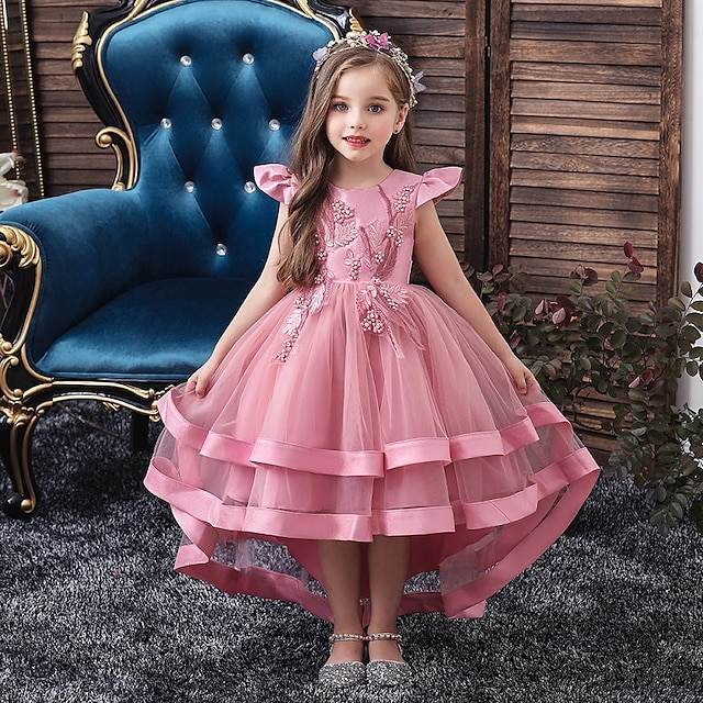 Kids Little Girls' Dress Solid Colored Layered Dress Wedding Party Beaded Embroidered Layered Blushing Pink Wine Khaki Asymmetrical Short Sleeve Active Sweet Dresses New Year Slim 3-12 Years