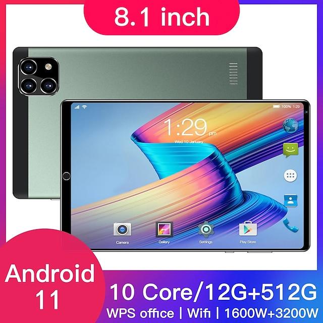 8,1 tommers nettbrett, utstyrt med android 10.0, oktakjerneprosessor, google play, gps og wifi-telefon, 8 tommers herdet glass