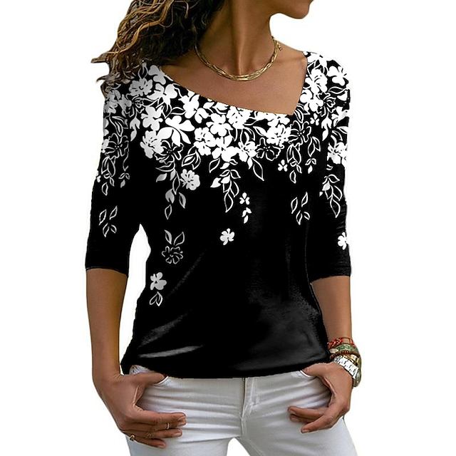 Women's Floral Theme Painting T shirt Floral Graphic Long Sleeve Print V Neck Basic Tops Blue Purple White