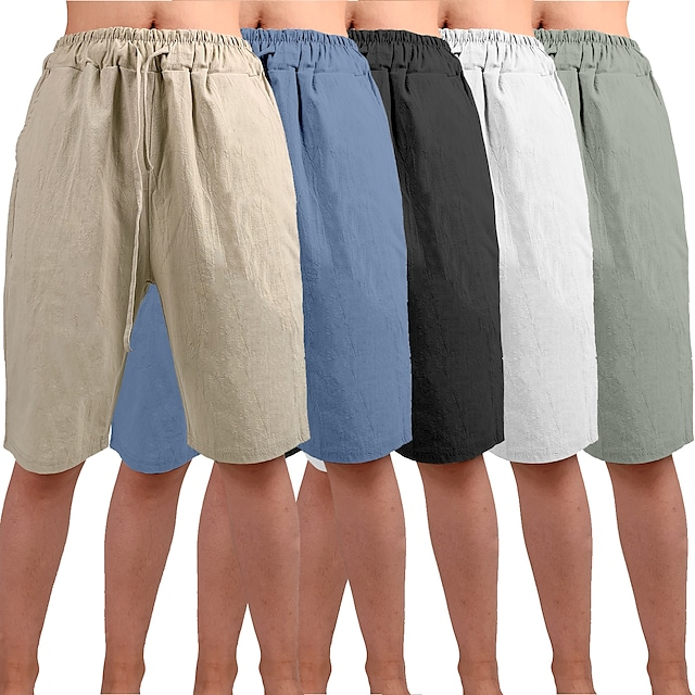 Men's Yoga Shorts Shorts Drawstring Bottoms Bermuda Shorts Moisture Wicking Quick Dry Breathable Solid Color White Black Blue Casual Yoga Fitness Gym Workout Summer Sports Activewear