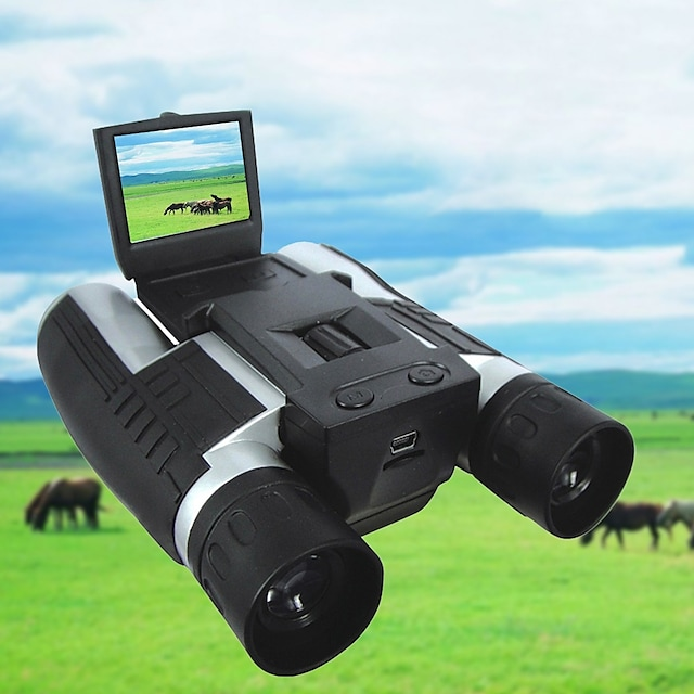12 X 32 mm Binoculars Digital Camera 2'' LCD Display 1080P High Definition with Video Photo Recorder Support 32G TF Card USB Observing Wildlife Bird Watching Camping Hiking Hunting Battery Included