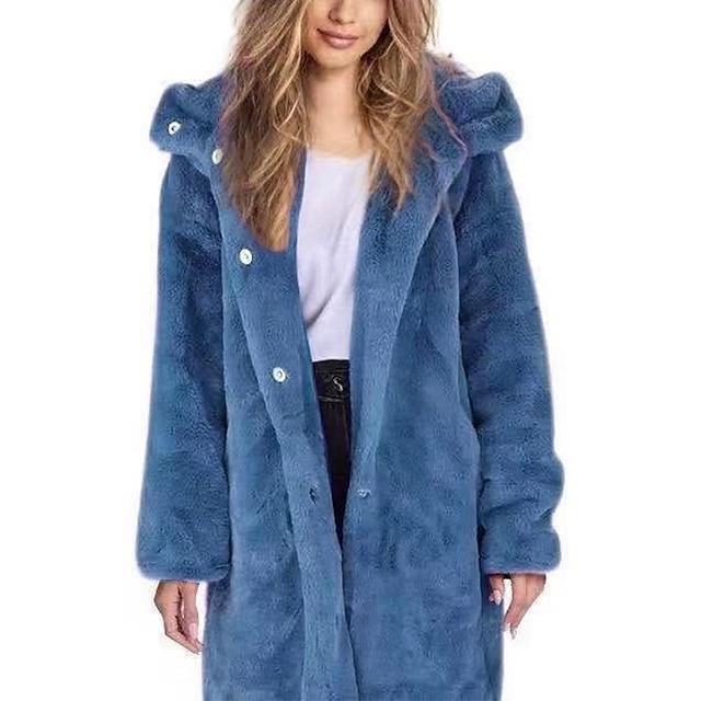 Per donna Cappotto di pelliccia sintetica Quotidiano Autunno inverno Lungo Cappotto Largo Essenziale Giacca Manica lunga Tinta unita Oversize Blu Viola Giallo