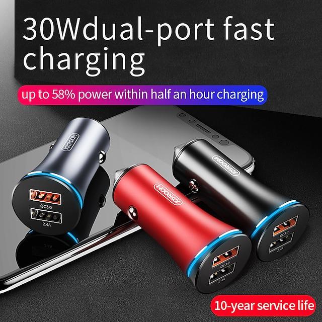 joyroom 30 واط انتاج الطاقة الاخرى شاحن سيارة led أضواء متعددة الخرج qc 3.0 لجميع أنحاء العالم