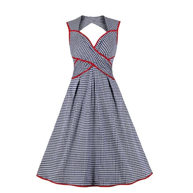 abito da donna vintage una linea abito al ginocchio blu senza maniche plaid / check estate sexy 2021 s m l xl xxl