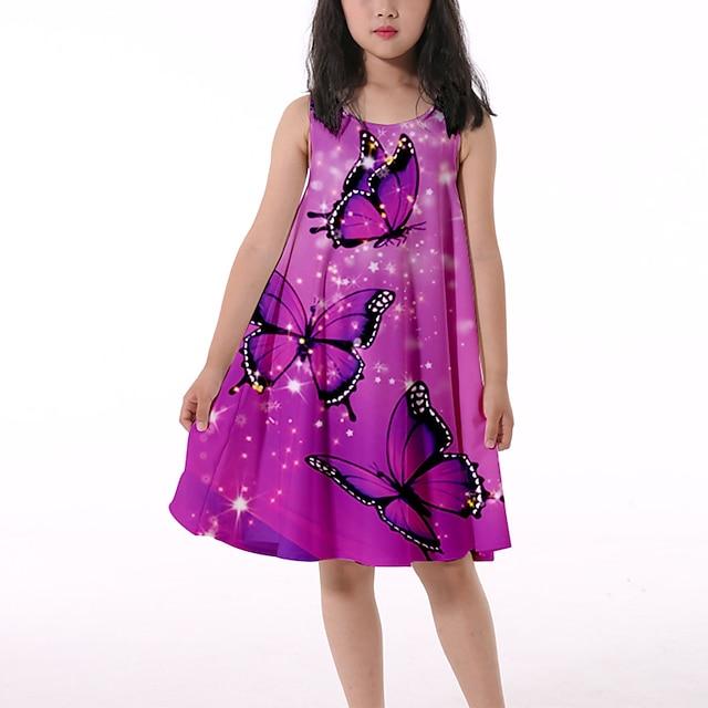 Djeca Malo Djevojčice Haljina Rukav leptir Grafika Životinja Pripijena haljina Kauzalni Ispis Kozice ružičaste Kravata-ljubičasta purpurna boja Do koljena Bez rukávů 3D ispis Slatka Style Haljine