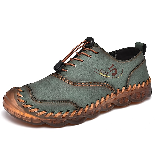 Men's Oxfords Casual British Daily Office & Career Leather Khaki Green Black Fall Spring