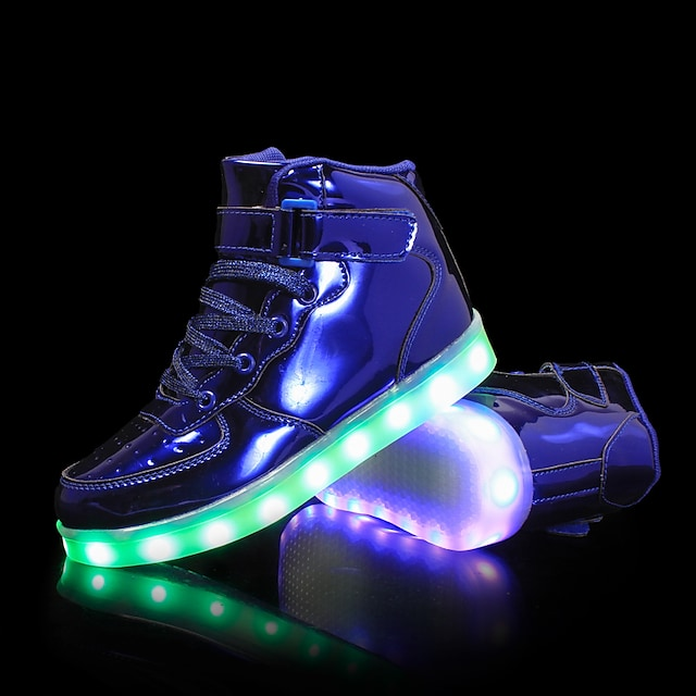 Boys' Girls' Sneakers LED Comfort LED Shoes PU Little Kids(4-7ys) Big Kids(7years +) Outdoor Lace-up Hook & Loop LED Black Blue Pink Fall