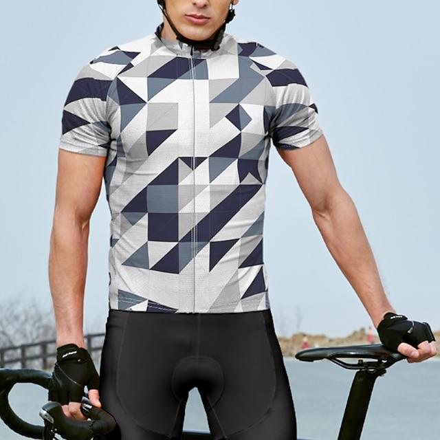 21Grams Erkek Kısa Kollu Bisiklet Forması Yaz Splandeks Polyester Beyaz Bisiklet Forma Üstler Dağ Bisikletçiliği Yol Bisikletçiliği Hızlı Kuruma Nem Emici Nefes Alabilir Spor Dalları Giyim / Arka cep