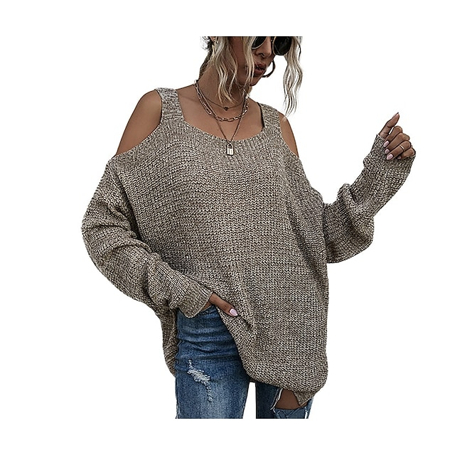 LITB Basic Women's Off Shoulder Sweater Long Sleeves Tops Solid Color