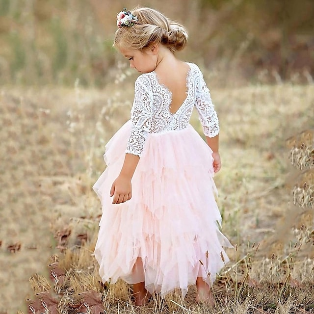 Kids Little Girls' Pink Party Princess Flower Lace Scalloped Tulle Back Backless Tutu Top Edges Tiered Girl Dress