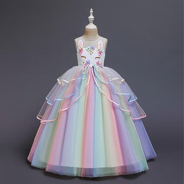 crianças vestido de meninas fantasia festa princesa unicórnio cor da flor do arco-íris bloco vestido de tule vestido de aniversário com babados branco corado rosa maxi sem mangas vestidos doces