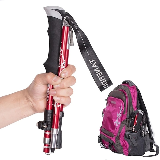 Adjust 5-section Trekking Pole Aluminum Alloy Foldable Ultra-light Telescopic Outdoor Hand-carrying Hiking Sticks Walking Stick