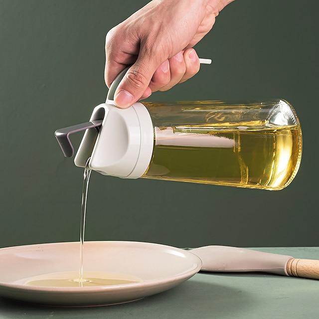 pot d'huile en verre avec couvercle ménage étanche bouteille d'huile cuisine ouverture et fermeture automatiques récipient liquide organisateur de cuisson