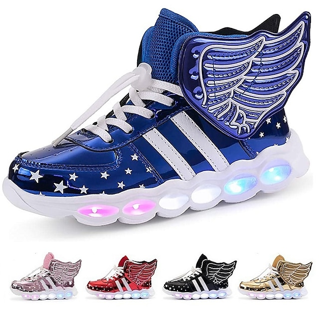 Boys' Girls' Light Up Shoes USB Charging LED Shoes Flashing Wings Sneakers Christmas PU Little Kids(4-7ys) Big Kids(7years +) Daily Walking Shoes Black Red Blue Pink Winter Spring