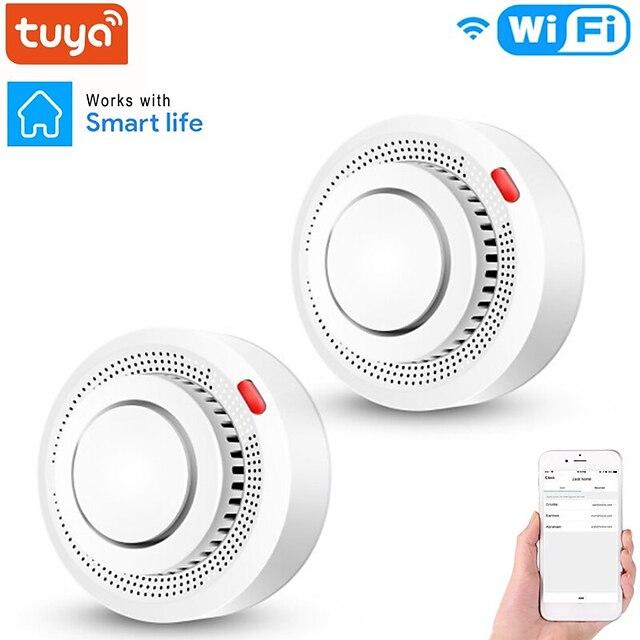 Détecteur de fumée wifi indépendant sécurité à domicile système d'alarme incendie tuya capteur de fumée intelligent app message push 80db son