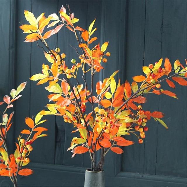 88cm 3pcs simulation de style rétro d'arrangement de fleurs de feuille d'érable de fruits d'automne