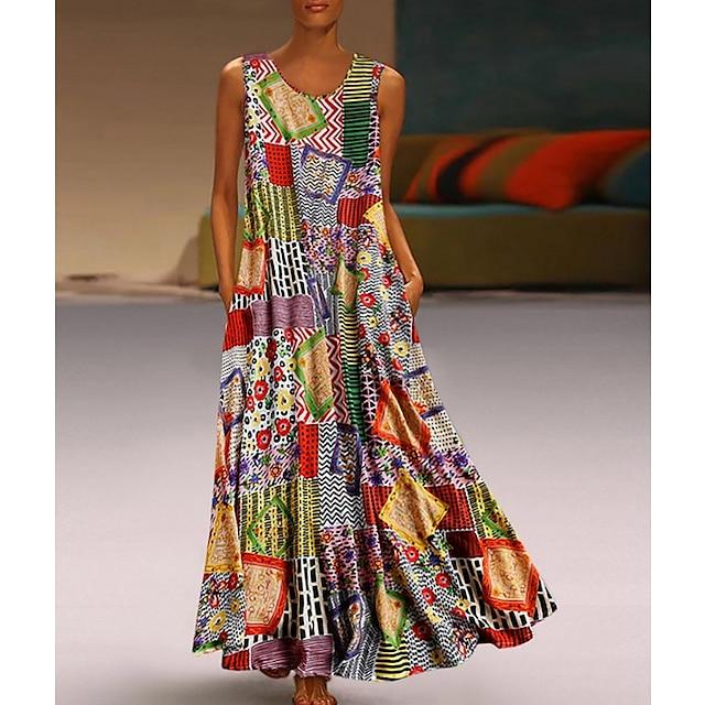 Dame Swing Kjole Maxi lang kjole Kakifarvet Uden ærmer Tribal Geometrisk Farveblok Lomme Sommer Rund hals Etnisk Stil Varm Afslappet 2021 M L XL XXL 3XL 4XL 5XL