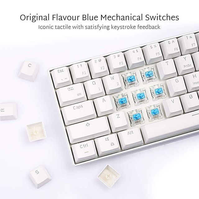 Royal Kludge RK61 Mechanical Bluetooth 3.0 Wired/Dual Mode Wireless 61 Keys Multi-Device LED Backlit Gaming/Office Keyboard for iOS, Android, Windows